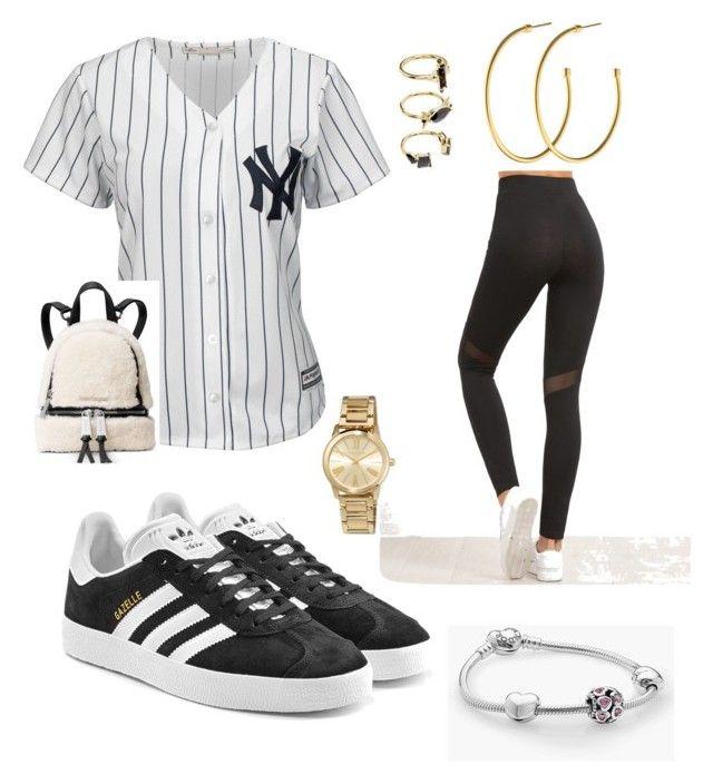 """Baseball game outfit⚪️ #yankee #newyork #baseball"" by julia-medeiros-i on Polyvore featuring moda, Majestic, adidas Originals, Pandora, MICHAEL Michael Kors, Noir Jewelry, Dyrberg/Kern e Michael Kors"