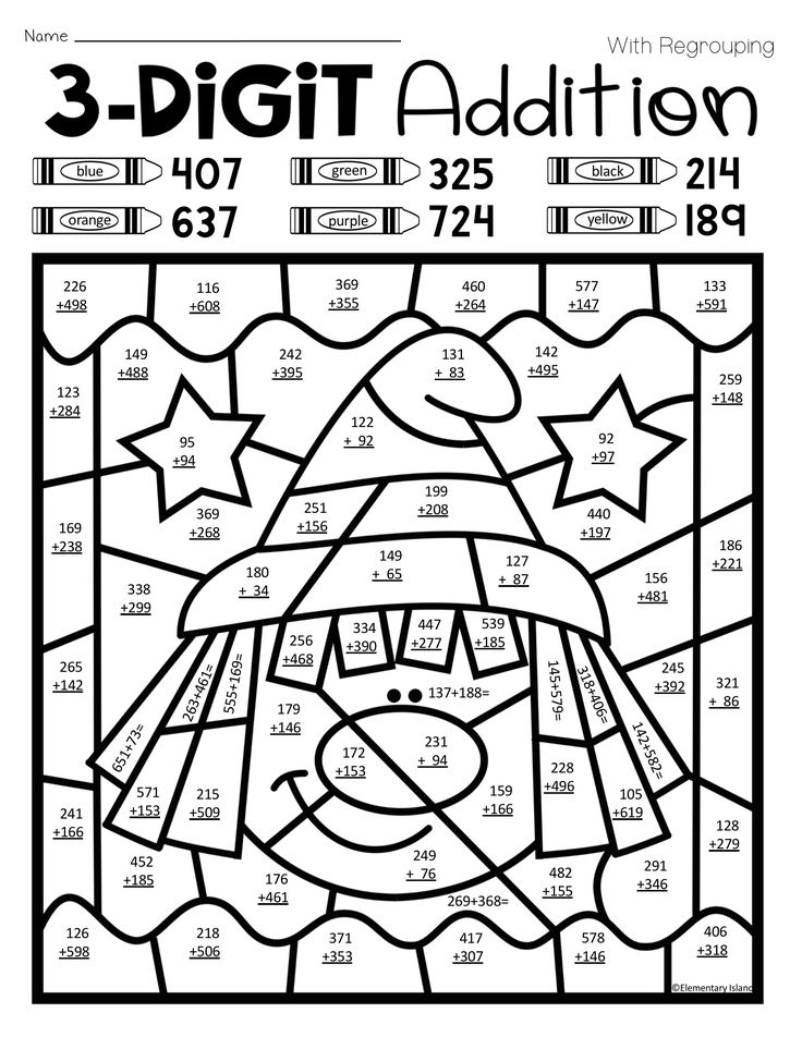 Halloween Three Digit Addition Color by Number with and
