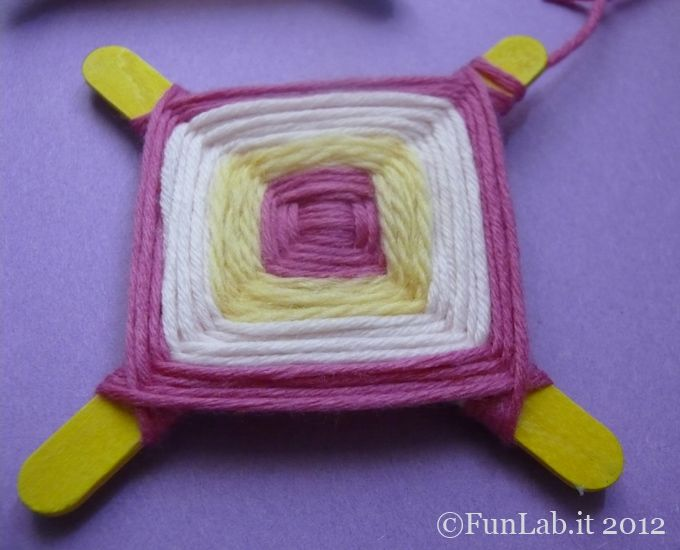 what to do during birthday parties? crafting...easy weaving.  http://blog.funlab.it/en/2012/05/birthday-party-craft-easy-weaving/