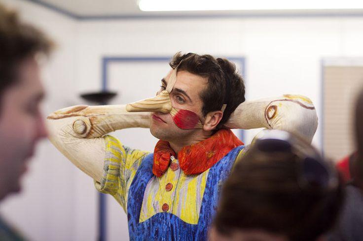 Shrek actor Jonathan Stewart putting on his nose to play Pinocchio