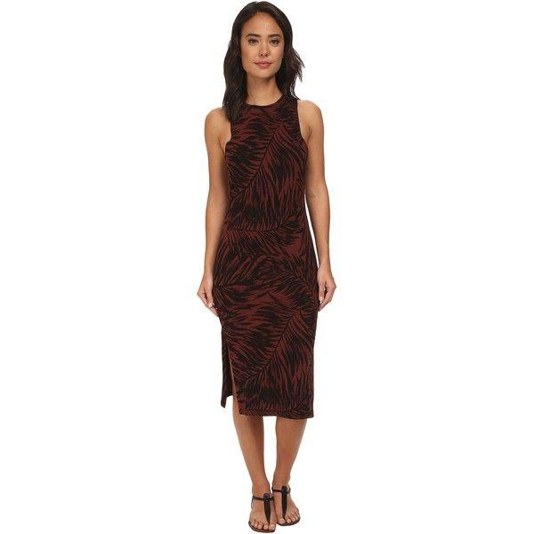 Vans Westminster Dress (Rum Raisin) Women's Dress ($28) ❤ liked on Polyvore featuring dresses, burgundy, brown maxi dress, side slit dress, sleeveless dress, brown sleeveless dress and maxi length dresses