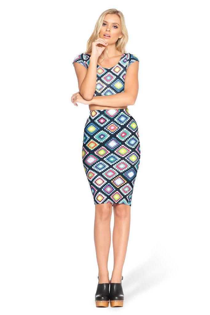 Nana Blanket Midi Skirt (sample) > Black Milk Clothing S