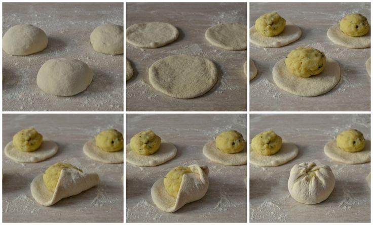 Coccoi prena, ricetta tipica sarda, pasta di pane farcita con patate, pecorino fresco menta e cipolla, ottima sia calda che fredda.