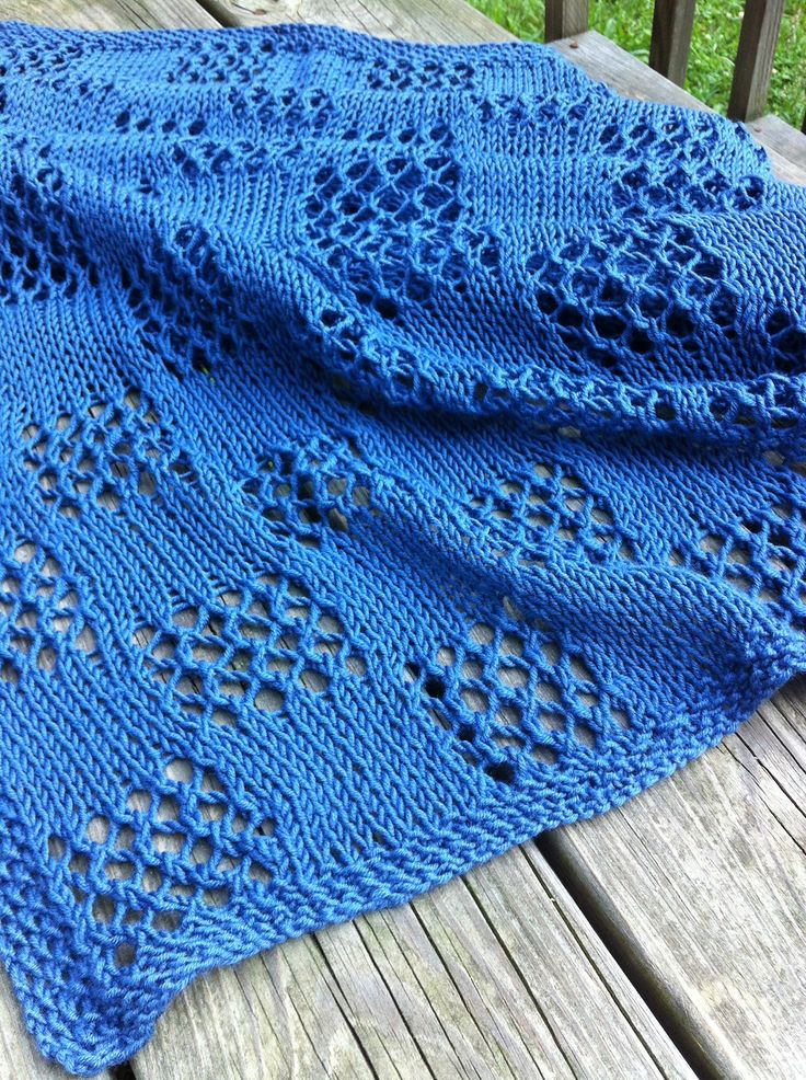 Free Knitting Pattern for Easy Fall Breeze Shawl - I've knit this wrap as a gift to my mother and it's very easy. It's a rectangular shawl or stole with eyelet Lace Check squares at each end. The original pattern has a stockinette body but thepictured projectby lauremir continued the Lace Check pattern throughout. It does require blocking to open up the lace. My mom got a lot of compliments on her shawl. Designed byDenise Twum