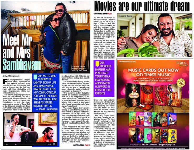നമമട ട നലല ബസററ ട  എലലര ഇനന The Times of India ഓര കപപ മടചച വയകകണ ടട!! Thank you TOI for featuring us and many thanks to dear Arya for writing this so beautifuly :) http://ift.tt/2uY0KN4  #weareasambavam #pressrelease #milestone #singapore #timesofindia #malayalammoviemakers