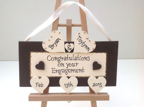 Personalized engagement gift keepsake plaque. Engagement present gift idea. Unique engagement present