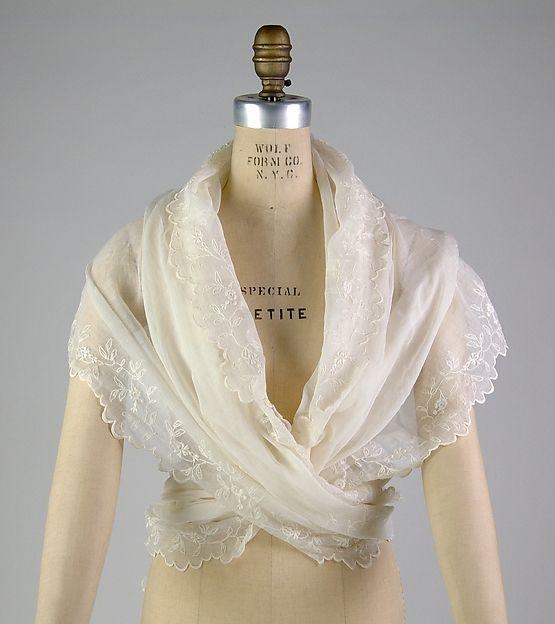 Fichu, Date: ca. 1793 Culture: French Medium: Cotton