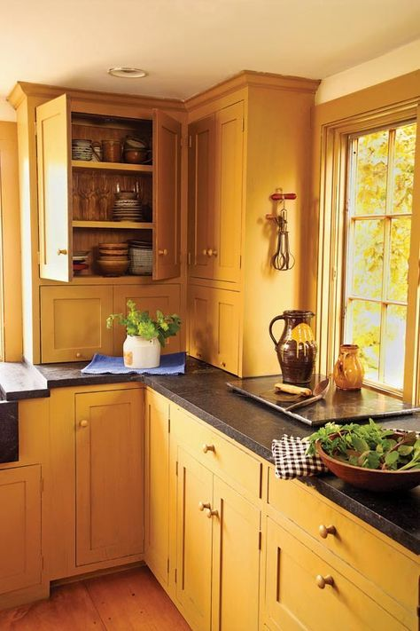 The Best Countertop Choices for Old-House Kitchens - Granite remains a versatile option. Many granites are nonporous, an advantage over traditional soapstone or marble. Light granites can stand in for marble; grays and blacks offer the look of traditional stones with less maintenance. Hone it for a subtler look more in keeping with many old-house styles. => so think about honed granite in dark gray or green.