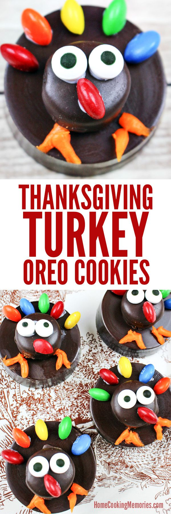 Fun & Easy Thanksgiving Turkey OREO Cookies! These cute (and slightly goofy) turkeys are great Thanksgiving food craft for kids and perfect for class parties, potlucks, or as part of your holiday table place settings. (turkey cookies for kids)