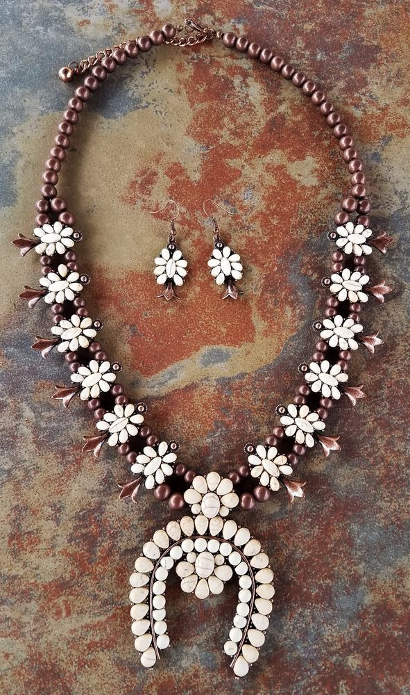 COWGIRL Bling Ivory SQUASH BLOSSOM Western COPPER TONE Gypsy NECKLACE set #Unbranded