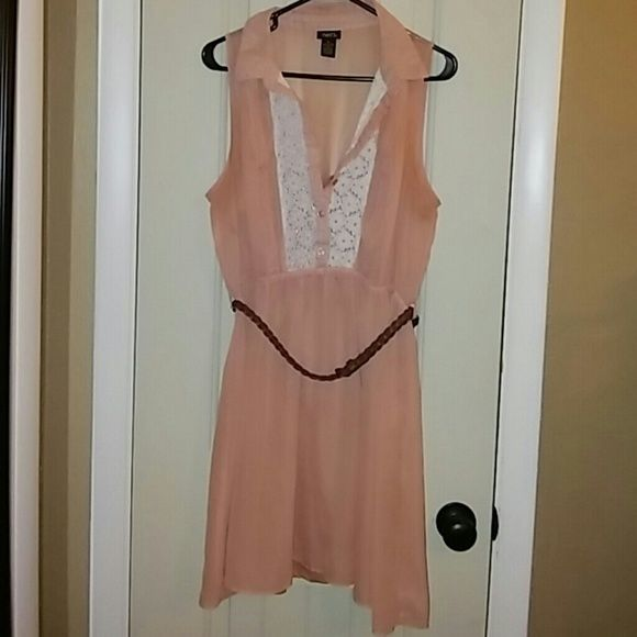 Rue 21 dress size XL. Rue 21 2 piece coral peach colored dress size XL. Has a slip under dress and belt. Super cute dress!!! Hits above the knee. Only wore once. Smoke free home. Rue 21 Dresses Midi