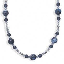 """16""""+2"""" Blue Fire Agate and Cultured Freshwater Pearl Necklace"""