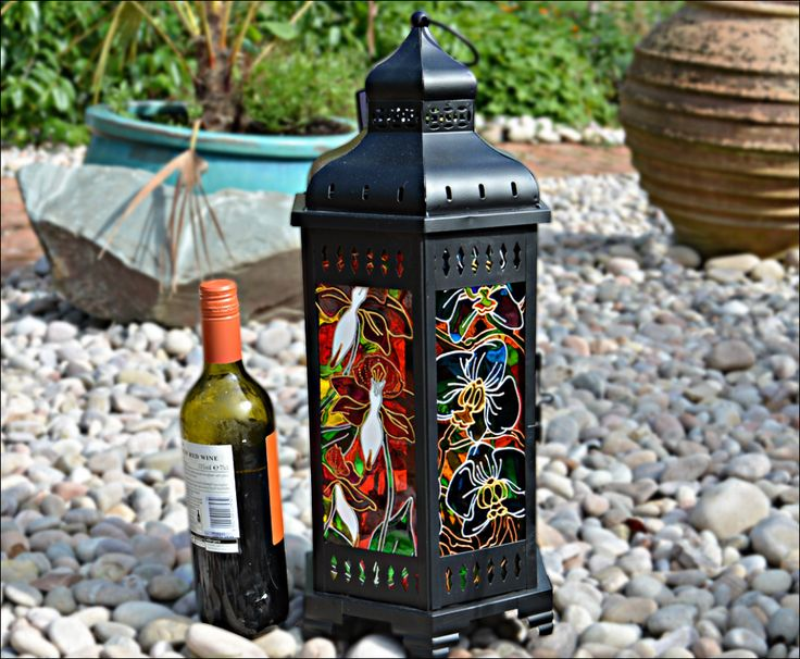 ORCHID MOROCCAN LANTERN hand painted, great sun catcher, candle lantern, garden lantern (sun or rain); home decor, glass painting, Christmas gift. 6 panes of glass & 3 different orchid patterns, all in rich, vivid colours. Find this at the Ornately Lanterns' Etsy Shop: www.etsy.com/uk/shop/OrnatelyLanterns