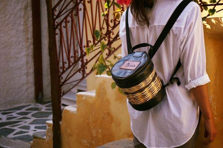 Handmade Basket Leather Backpack - Greek Designers - Greek Culture - Island Life - Stylish Outfit