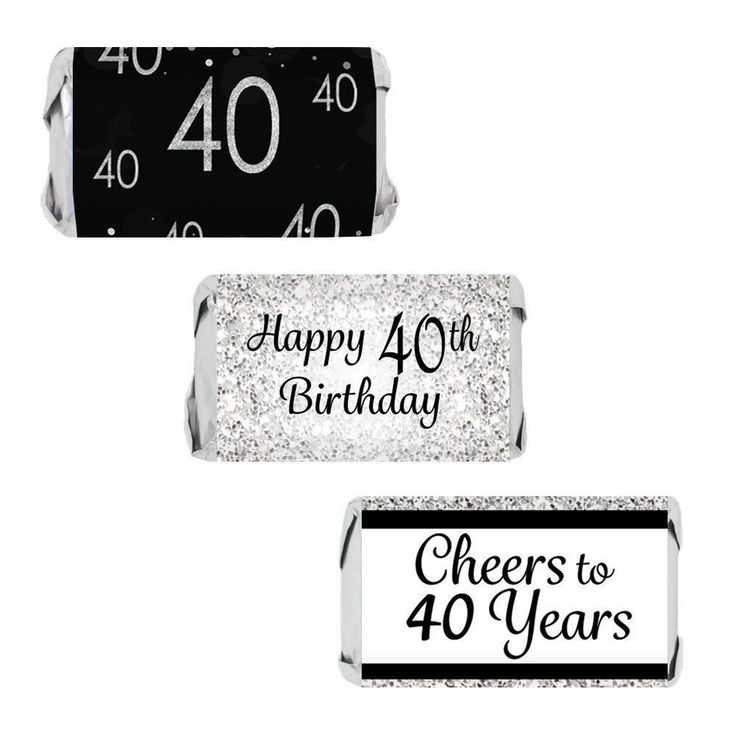 Happy 40th Birthday Party - Silver and Black Stickers for Hershey Miniature Bars (Set of 54)