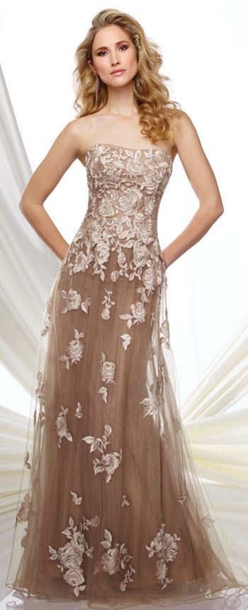 Strapless tulle and embroidered lace A-line dress with scattered hand-beading, softly curved neckline, embroidered lace bodice with dropped waist