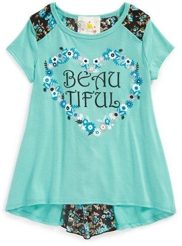 Jenna & Jessie 'Beautiful' Envelope Back Tee (Toddler Girls, Little Girls & Big Girls) on shopstyle.com