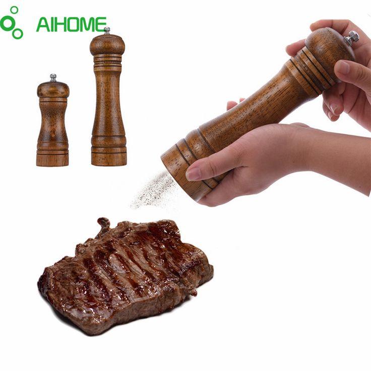 AIHOME Kayu Garam & Merica Penggiling Garam Dan Merica & rempah-rempah Penggiling Pabrik Merica Pengguna 2 Ukuran Kreatif Dapur alat