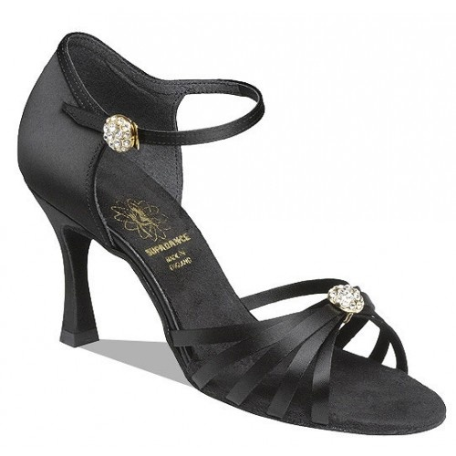 Supadance 1064 Shaped back and five strap vamp with diamante dome. Ankle strap with diamante dome and easy hook fastening. Regular fitting Price: 109.50€