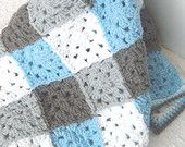 Items similar to Blue and Gray Baby Blanket - Crochet Baby Blanket - Blue Gingham - Crochet Baby Boy Blanket - Granny Square Baby Blanket on Etsy