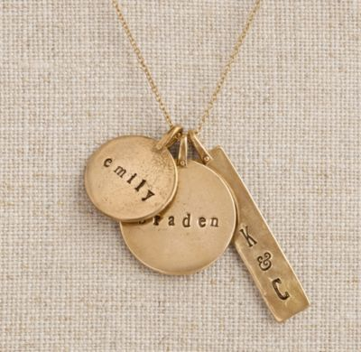 RH baby&child's Personalized Bronze Charm Necklace:Double-sided charms in varying shapes and sizes lend our necklace visual texture. Personalized with names, initials or dates, each charm is an enduring celebration of a special someone or memorable moment.