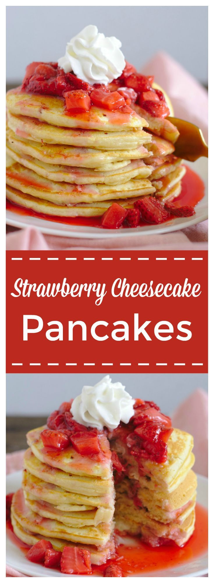 Strawberry Cheesecake Pancakes – A delicious breakfast recipe combining strawberry cheesecake and pancakes! These pancakes are jam packed with cream cheese and fresh strawberry and topped with fresh strawberry syrup! Strawberry cheesecake pancakes are so easy to make and tasty! #ad  #FlavorYourSpring @coffee_mate #pancakes #breakfast #cheesecake #strawberry