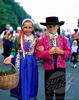 children in traditional clothing Brittany, France