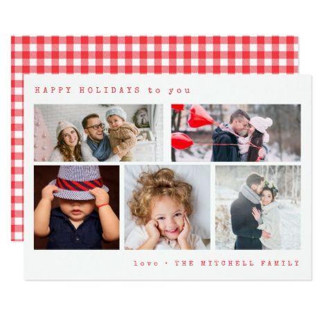 Minimal Holiday Photo Collage | Red Gingham Card #Christmas #Xmas #Holidays