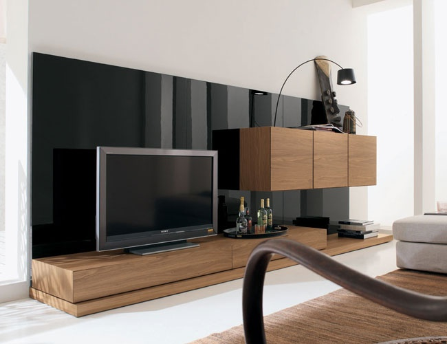 THE FURNITURE :: Oak and Glossy Black Colored Wood TV Unit, 'Lounge' Collection by Rossetto. FREE SHIPPING    also on http://www.furniturebyduval.com/good/RST---COMPOSITION-7