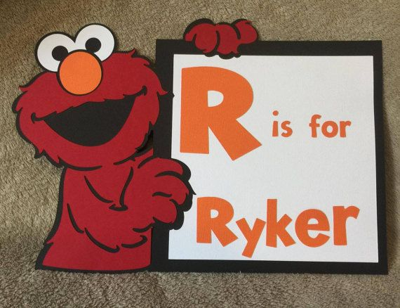 You are purchasing a personalized Sesame Street Elmo sign You choose the name you would like on this. This measures about 11 inches wide by 8 inches tall. This would be perfect for room decor or even birthday parties or baby showers. Made out of card stock. This comes with free first class