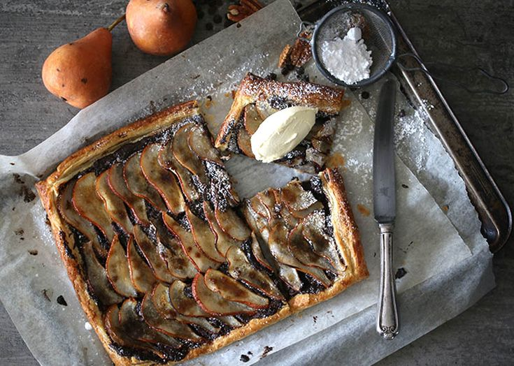 Rustic Chocolate, Pecan & Pear Tart on Afternoon Express