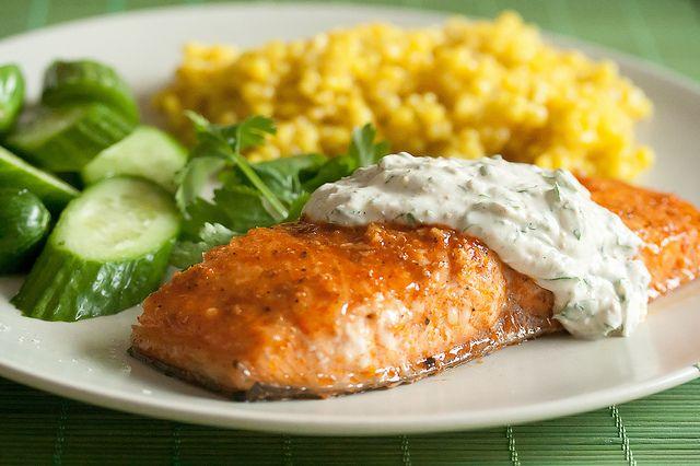 Sauces Recipe, Grilled Salmon, Yogurt Sauces, Cilantro Yogurt, Salmon ...