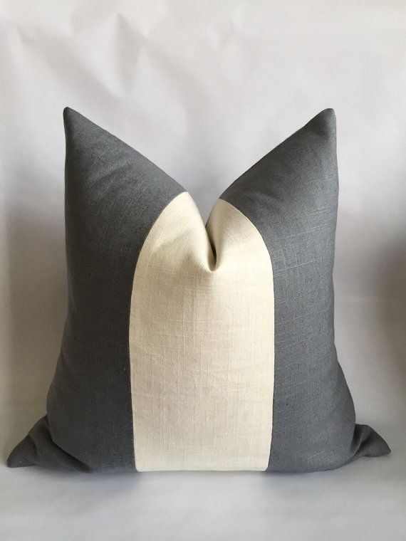 Charcoal Gray And Cream Linen/Cotton Vertical by BouteilleChic