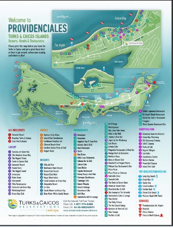 Turks and Caicos Map - every resort, restaurant and activity location needed for the Island of Providenciales