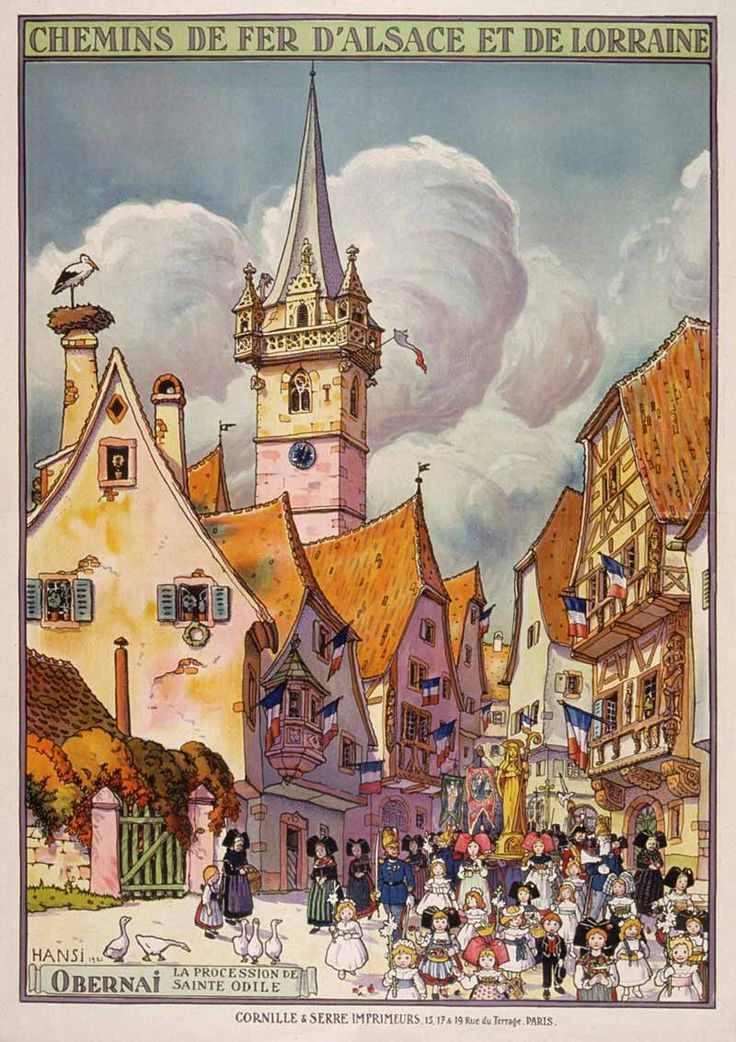 Obernai La Procession de Sainte Odile, illustration d'Hansi pour les Chemins de Fer d'Alsace et de Lorraine, 1921.