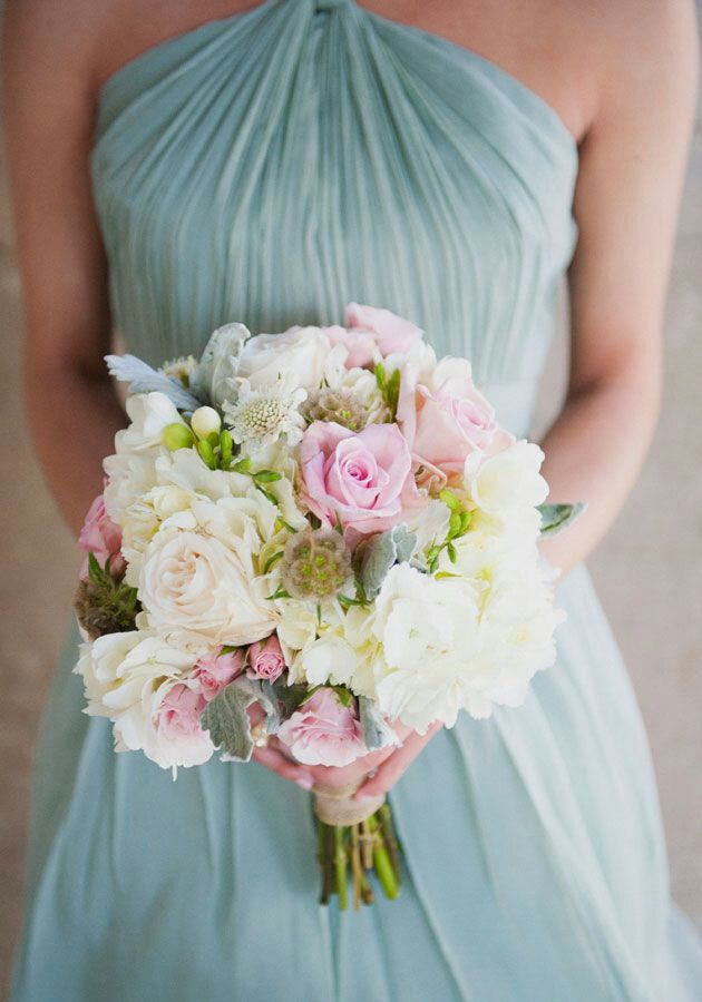 Blue bridesmaid dress.