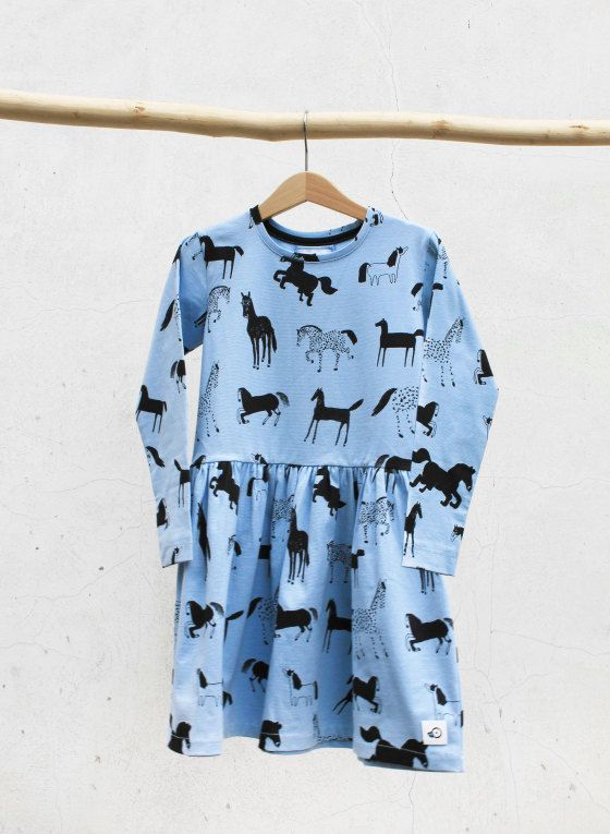 Horses in Blue Dress, Jersey Cotton Girls Dress, light blue, Black prints by Pocopato on Etsy