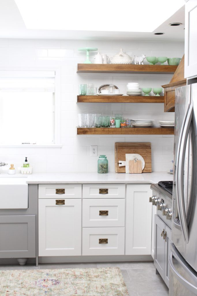 Pretty Hardware Rustic Shelves And White Tile In My New Cottage Kitchen