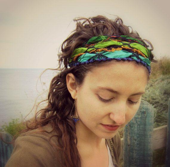 Sari.  Hippie Headband Bandana e Pulseira de Pulso envoltório