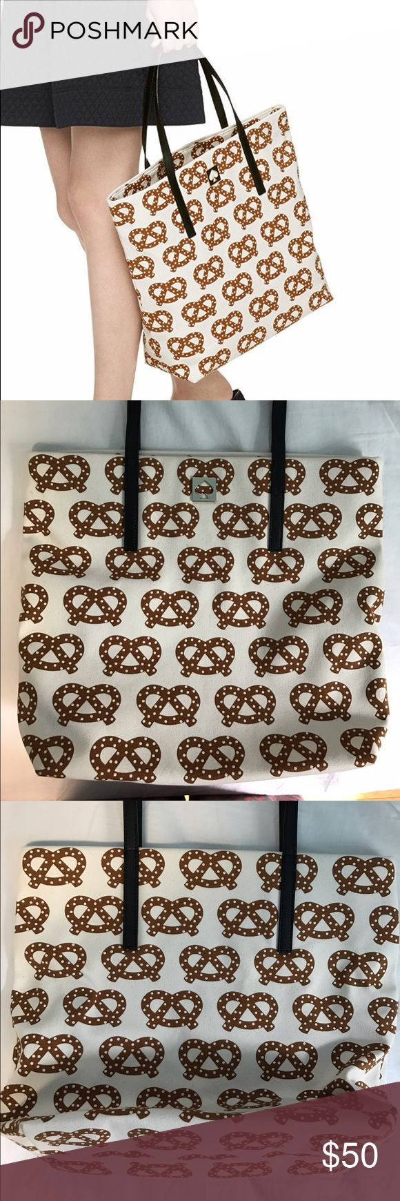 Kate Spade 'Far from the Tree' Bon Shopper Pretzel Used once. Looks brand new, no scratches or marks. Clean interior, smoke free home. Cute limited edition tote, canvas material with leather handle. Dimensions are 17.3 x 8 x 2.5 inches. kate spade Bags Totes