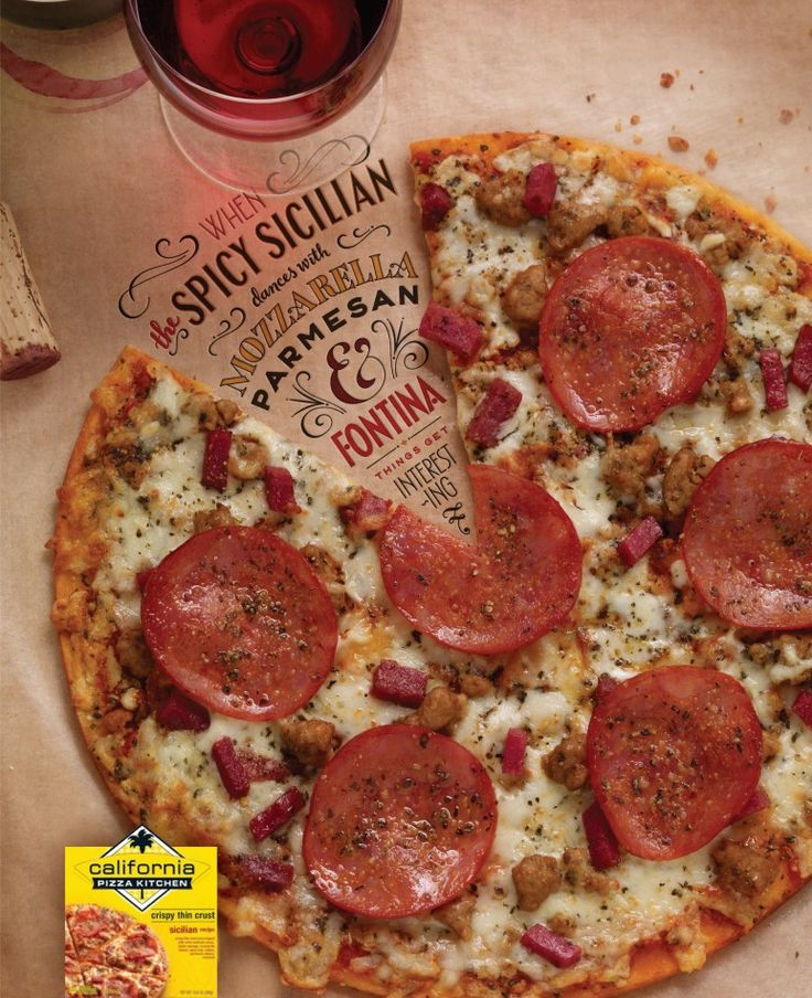 """cute cpk ad with lettering by jessica hische. """"when spicy sicilian dances with mozzarella, parmesan, and fontina, things get interesting."""""""