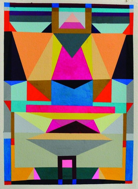"Alexander Kori Girard ""SYSTEM OF SPACE"" 2010 GOUACHE ON PAPER 30 X 23 IN PRIVATE COLLECTION"