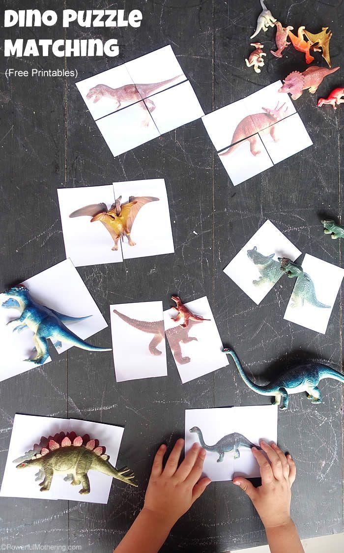 Dinosaur Matching Puzzle (Free Printable) - Eventueel n.a.v. bezoek aan Dino's in the Zoo - Burgers' Zoo Arnhem
