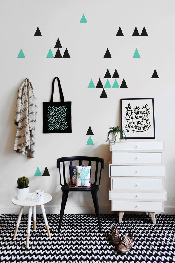 little triangles stickers for wall decoration and every surface very easy to install - Idee Decoration Chambre Bebe Fille