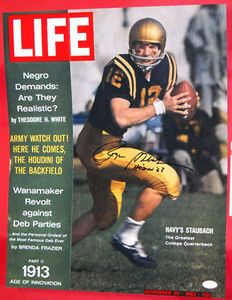 "$212.44 ROGER STAUBACH AUTOGRAPHED 16X20 RARE LIFE MAGAZINE COVER PHOTO    ""THE LOST ISSUE"" JFK NAVY HEISMAN JSA    Ultra Rare Roger Staubach Autographed photo of the Life magazine cover. This is the lost cover from the 11/29/63 issue that was never released due to the JFK assassination. All 300,000 magazines that were printed were pulled back and destroyed. Roger inscribed the photo with ""Heisman 63"" for the year he won the award with the Navy Midshipmen. It comes with JSA  Authentication."
