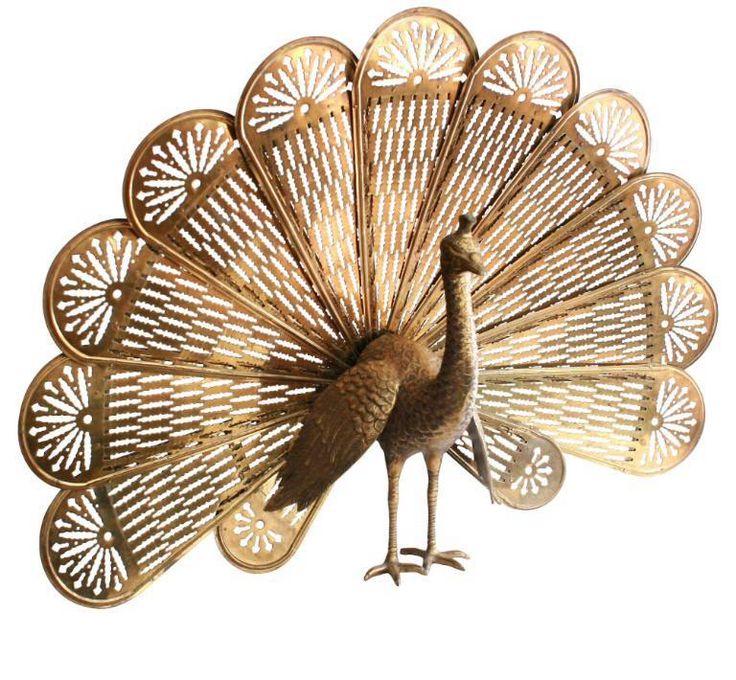 Brass Peacock Fireplace Fan on Chairish.com