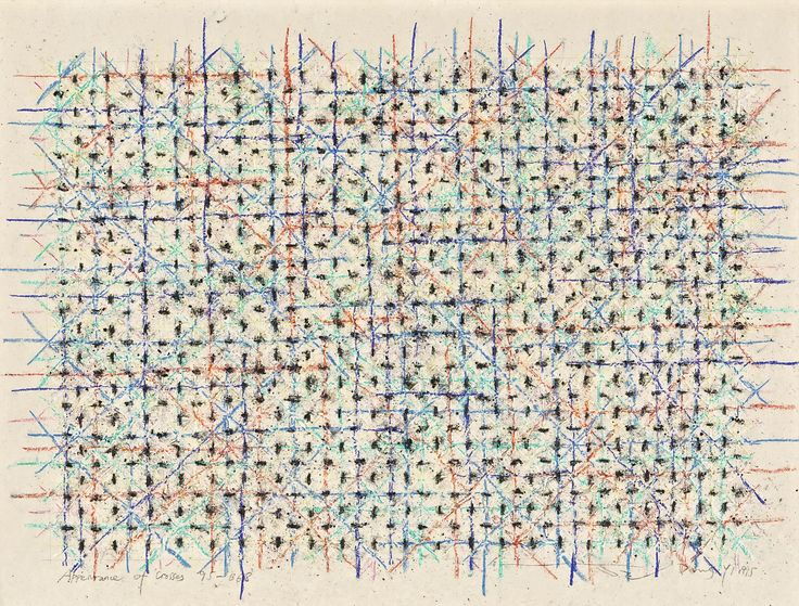 DING YI B. 1962 APPEARANCE OF CROSSES 95-B68 signed in Chinese and Pinyin, titled in English, and dated 1995, framed. Mixed media on paper 48.2 by 64 cm