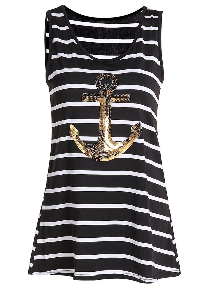 Stylish Scoop Striped Sequined Tank Top For Women #jewelry, #women, #men, #hats, #watches