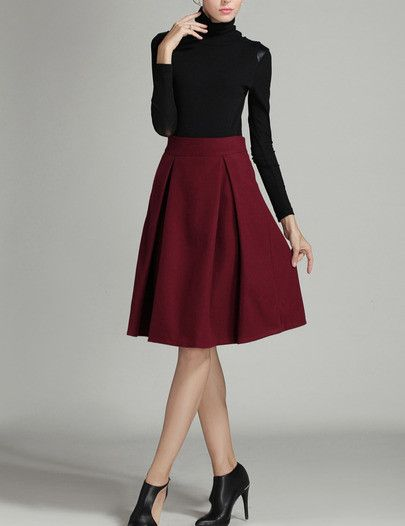 Burgundy High Waist Midi Wool Skirt
