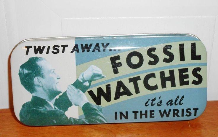 1992 Twist Away Fossil  Watches Metal Tin Watch Box no watch just Tin Box  #Fossil